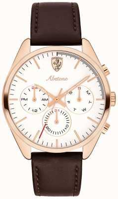 Scuderia Ferrari Mens abetone pulseira de couro marrom relógio mostrador branco 0830504