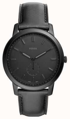 Fossil Mens o relógio de pulseira de couro preto minimalista FS5447