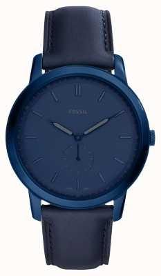 Fossil Mens o relógio de pulseira de couro azul minimalista FS5448