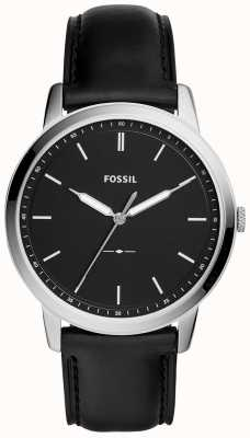 Fossil Mens o relógio de pulseira de couro preto minimalista FS5398
