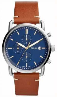 Fossil Mens commuter watch blue cronógrafo pulseira de couro tan FS5401