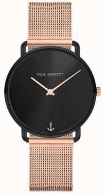 Paul Hewitt Unisex miss ocean line 32mm mostrador preto malha de ouro rosa PH-M-B-BS-4S