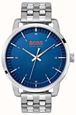Hugo Boss Orange Pulseira de aço inoxidável de prata de discagem azul masculina de Estocolmo 1550076