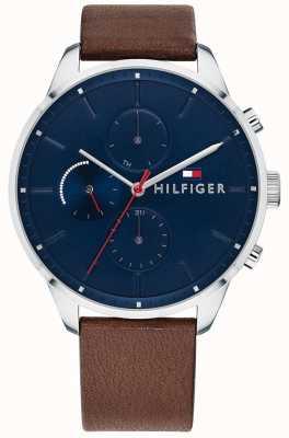 Tommy Hilfiger Pulseira de couro marrom de cronógrafo de perseguição masculina mostrador azul 1791487