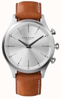 Kronaby 41 milímetros sekel prata mostrador marrom pulseira de couro a1000-3125 S3125/1