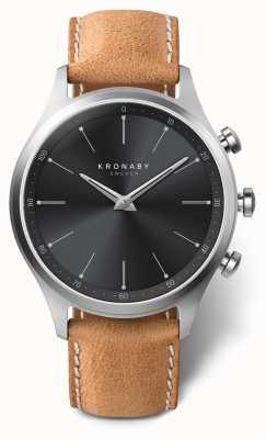 Kronaby 41mm sekel mostrador preto pulseira de couro marrom a1000-3123 S3123/1