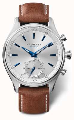 Kronaby 41mm sekel prata mostrador pulseira de couro marrom A1000-3122