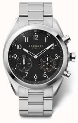 Kronaby 43mm ápice preto discagem pulseira de aço inoxidável a1000-3111 S3111/1