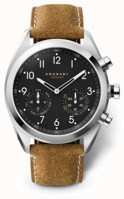 Kronaby 43mm apex black dial pulseira de camurça marrom A1000-3112