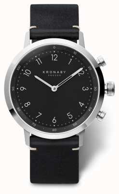 Kronaby 41mm nord pulseira de couro preto aço inoxidável a1000-3126 S3126/1