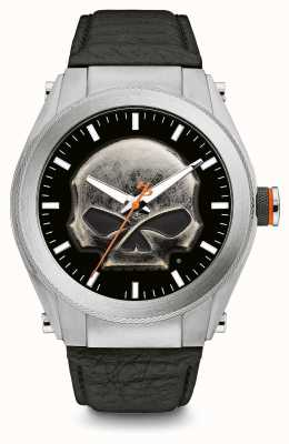 Harley Davidson Crânio de metal pesado com pulseira de couro preto com estojo grosso 76A156