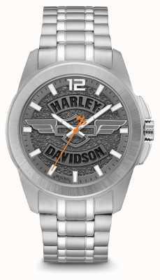 Harley Davidson Logotipo com impressão do mostrador, caixa em aço inoxidável prateado e pulseira 76A157