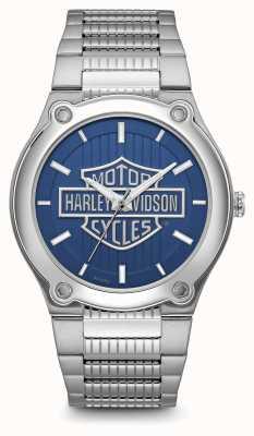 Harley Davidson Pulseira de aço inoxidável com mostrador azul e logomarca 76A159