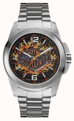 Harley Davidson Caixa de aço inoxidável e pulseira de discagem de impressão logotipo flamejante 76A147