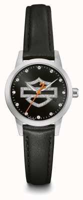 Harley Davidson Conjunto de cristal feminino preto logo discagem pulseira de couro preto 76L181