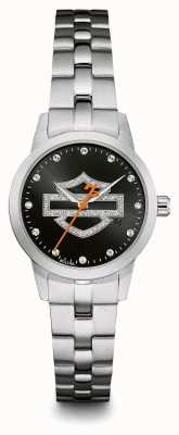 Harley Davidson Conjunto de cristal preto com mostrador preto pulseira de aço inoxidável 76L182