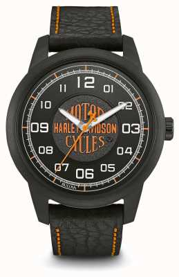 Harley Davidson Logo print black dial ip case banhado pulseira de couro preto 78A116