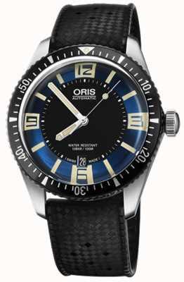Oris Divers sessenta e cinco mostrador de borracha automática cinta azul 01 733 7707 4035-07 4 20 18