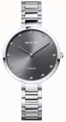Bering Caixa e pulseira em cristal de titânio cinza 11334-772