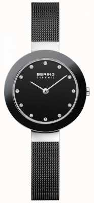 Bering Cristal conjunto dial pulseira de malha preta moldura de malha 11429-102
