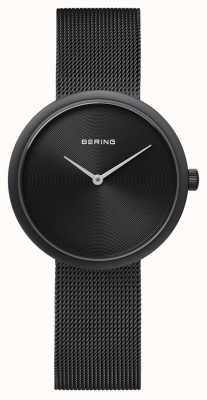 Bering Bracelete de malha preta fosca preta 14333-222