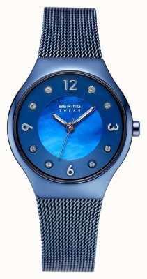 Bering Mostrador azul polido solar e pulseira de malha azul conjunto de cristal 14427-393