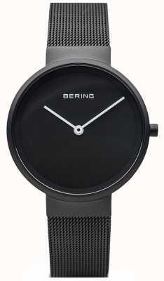 Bering Pulseira de malha preta fosca preta fosca preta clássica 14531-122