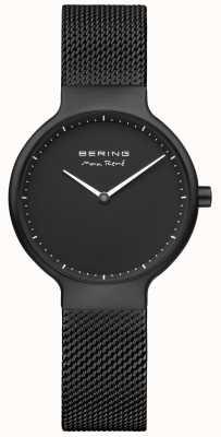 Bering Mostrador mate Max René preto e cinta de malha preta 15531-123