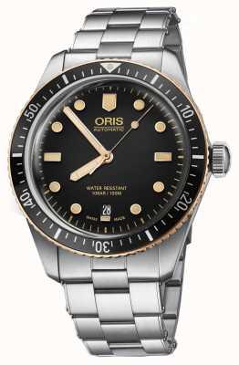 Oris Divers sessenta e cinco relógio pulseira de aço inoxidável 01 733 7707 4354-07 8 20 18
