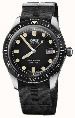 Oris Divers sessenta e cinco preto preto mostrador preto pulseira da OTAN 01 733 7720 4054-07 5 21 26FC