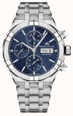Maurice Lacroix Aikon cronógrafo automático de aço inoxidável relógio com mostrador azul AI6038-SS002-430-1