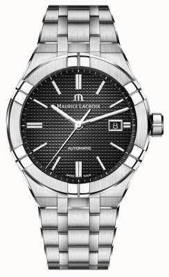 Maurice Lacroix Aikon automático de aço inoxidável relógio com mostrador preto AI6008-SS002-330-1