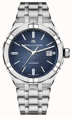 Maurice Lacroix Aikon relógio automático de aço inoxidável mostrador azul AI6008-SS002-430-1