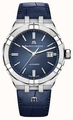 Maurice Lacroix Aikon mostrador azul automático relógio de couro azul AI6008-SS001-430-1