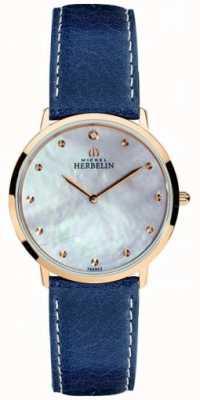 Michel Herbelin Womens ikone pulseira de couro azul mãe de pérola discar 16915/PR59BL