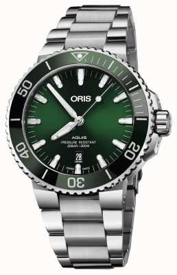 Oris Mens aquisição data verde pulseira de metal de discagem 01 733 7730 4157-07 8 24 05PEB