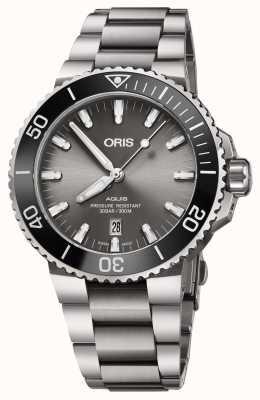 Oris Mens titanium aquisição metal pulseira cinza dial 01 733 7730 7153-07 8 24 15PEB