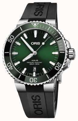 Oris Mens aquis data green dial pulseira de borracha preta 01 733 7730 4157-07 4 24 64EB