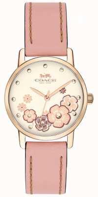 Coach Mostrador floral creme de couro rosa grande cinta das mulheres 14503060