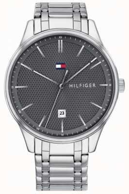 Tommy Hilfiger Mens damon cinza dial relógio de aço inoxidável 1791490