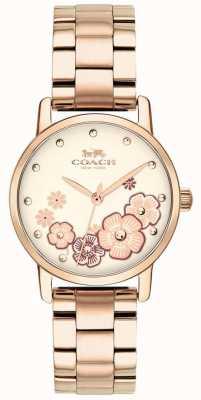 Coach Womens grande rosa banhado a ouro relógio 14503057