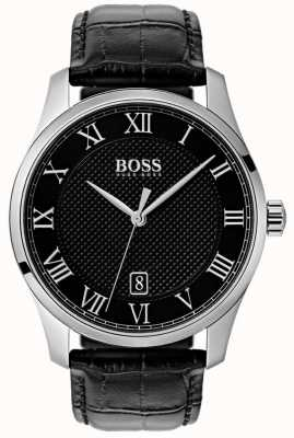 Boss Mens master preto mostrador preto relógio de couro 1513585