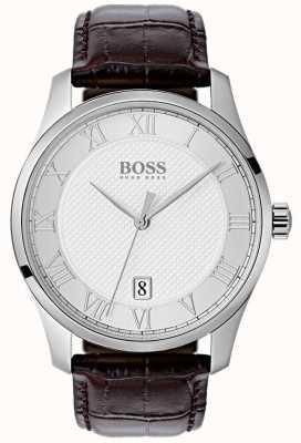 Hugo Boss Mens master prata mostrador relógio de couro azul 1513586