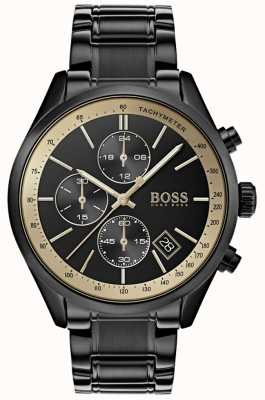 Hugo Boss Mens grand prix preto ip / ouro sotaque assistir 1513578