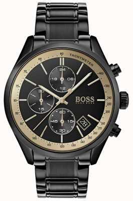 Boss Mens grand prix preto ip / ouro acento relógio 1513578