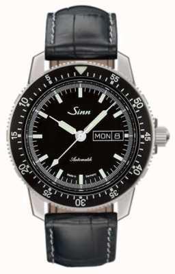 Sinn 104 st sa i couro de crocodilo de relógio piloto clássico em relevo 104.010-BL44201851001225301A