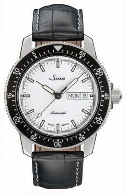 Sinn Couro do jacaré do relógio do clássico do st sa iw 104.012 BLACK EMBOSSED LEATHER