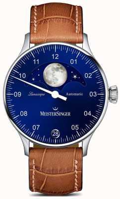 MeisterSinger Pangea lunascope brown strap azul dial LS908