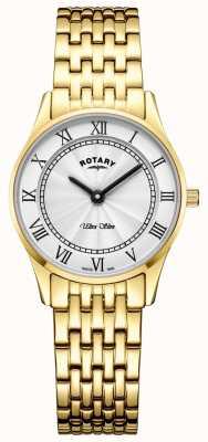 Rotary Mostrador branco pulseira ultra slim ouro tom de mulheres LB08303/01