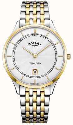 Rotary Mens ultra slim mostrador branco ouro caso relógio de aço inoxidável GB08301/02